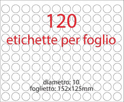 wereinaristea Etichette autoadesive rotonde, diametro mm 10 BIANCO, adesivo permanente, su foglietti da cm 15,2x12,5. 120 etichette per foglietto.