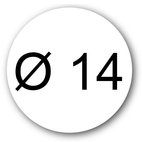 wereinaristea Etichette autoadesive rotonde, diametro mm 14 BIANCO, adesivo permanente, su foglietti da cm 15,2x12,5. 63 etichette per foglietto.