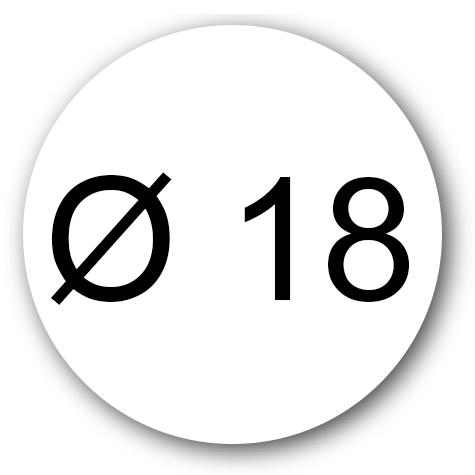 wereinaristea Etichette autoadesive rotonde, diametro mm 18 BIANCO, adesivo permanente, su foglietti da cm 15,2x12,5. 42 etichette per foglietto.