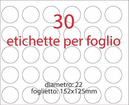 wereinaristea Etichette autoadesive rotonde, diametro mm 22 BIANCO, adesivo permanente, su foglietti da cm 15,2x12,5. 30 etichette per foglietto.