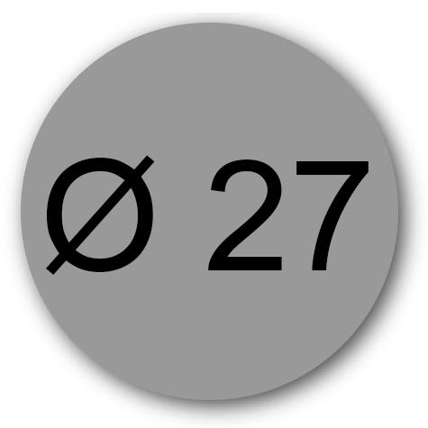 wereinaristea Etichette autoadesive rotonde, diametro mm 27  GRIGIO, adesivo permanente, su foglietti da cm 15,2x12,5. 20 etichette per foglietto.