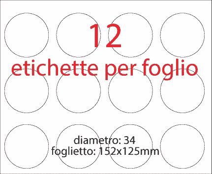 wereinaristea Etichette autoadesive rotonde, diametro mm 34 BIANCO, adesivo permanente, su foglietti da cm 15,2x12,5. 12 etichette per foglietto.