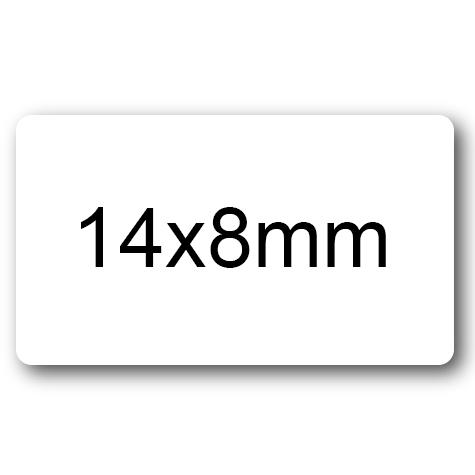 wereinaristea  Etichette autoadesive mm 14x8 (8x14)  BIANCO, adesivo permanente, su foglietti da cm 15,2x12,5. 108 etichette per foglietto. .