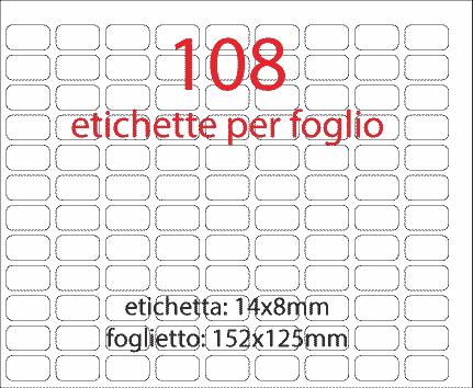wereinaristea Etichette autoadesive 14x8mm ARANCIONE (14x8) adesivo permanente, su foglietti da 152x125mm. 108 etichette per foglietto.