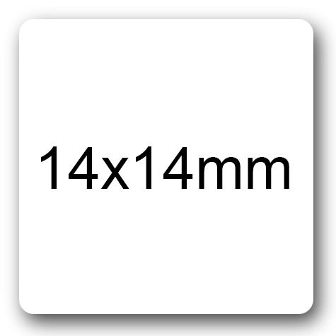 wereinaristea Etichette autoadesive mm 14x14 (14x14) BIANCO, adesivo permanente, su foglietti da cm 15,2x12,5. 63 etichette per foglietto.