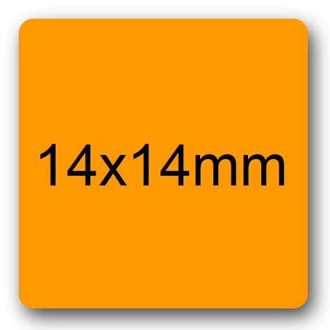 wereinaristea Etichette autoadesive 14x14mm ARANCIONE adesivo permanente, su foglietti da 152x125mm. 63 etichette per foglietto.