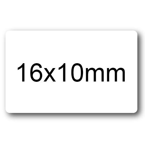 wereinaristea Etichette autoadesive 16x10mm BIANCO adesivo permanente, su foglietti da 152x125mm. 80 etichette per foglietto (10x16mm).
