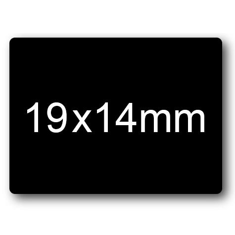 wereinaristea Etichette autoadesive mm 19x14 (14x19) NERO, adesivo permanente, su foglietti da cm 15,2x12,5. 49 etichette per foglietto.