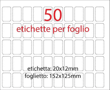 wereinaristea Etichette autoadesive mm 20x12 (12x20) BIANCO, adesivo permanente, su foglietti da cm 15,2x12,5. 50 etichette per foglietto.