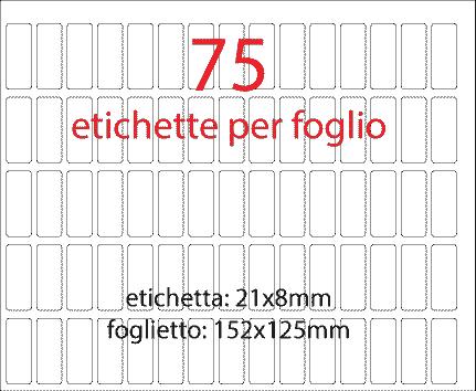 wereinaristea Etichette autoadesive mm 21x8 (8x21) BIANCO, adesivo permanente, su foglietti da cm 15,2x12,5. 75 etichette per foglietto.