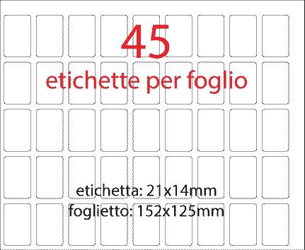 wereinaristea Etichette autoadesive mm 21x14 (14x21) NERO, adesivo permanente, su foglietti da cm 15,2x12,5. 45 etichette per foglietto.