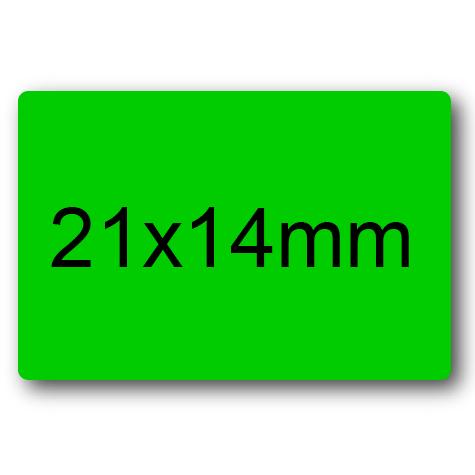 wereinaristea Etichette autoadesive mm 21x14 (14x21) VERDE, adesivo permanente, su foglietti da cm 15,2x12,5. 45 etichette per foglietto.