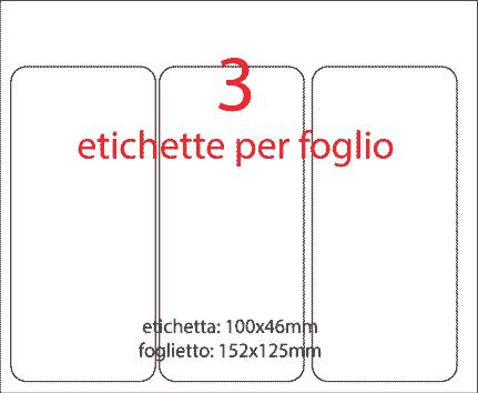 wereinaristea Etichette autoadesive mm 100x46 (46x100) BIANCO, adesivo permanente, su foglietti da cm 15,2x12,5. 3 etichette per foglietto.