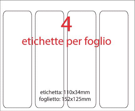 wereinaristea Etichette autoadesive mm 110x34 (34x110) BIANCO, adesivo permanente, su foglietti da cm 15,2x12,5. 4 etichette per foglietto.