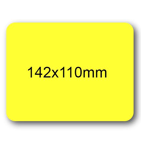 wereinaristea Etichette autoadesive mm 142x110 (110x142) GIALLO, adesivo permanente, su foglietti da cm 15,2x12,5. 1 etichette per foglietto.