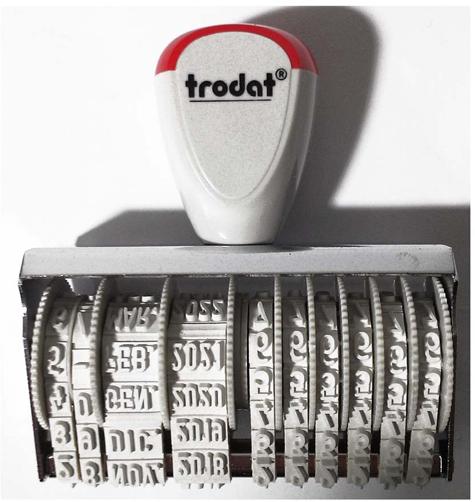 gbc TRODAT 1010-1546 datario numeratore Timbro manuale con 6 cifre numeriche in combinazione con la data. Lo strumento ottimale per l'organizzazione dell'ufficio. Semplice regolazione della data tramite ruotine di avanzamento.