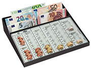 gbc Contenitore porta monete e banconote per tutte le monete in banconote, euro e centesimi. Base contenitore in METALLO. . Contiene 370 monete: 0,01x30, 0,02x35, 0,05x75, 0,10x65, 0,20x60, 0,50x55, 1x25, 2x25.