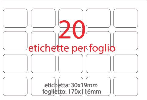 wereinaristea Etichette autoadesive Tik-Fix. a perfetto registro. mm 30x19 (19x30) ROSA, in foglietti da mm 116x170, 25 etichette per foglio, (10 fogli).