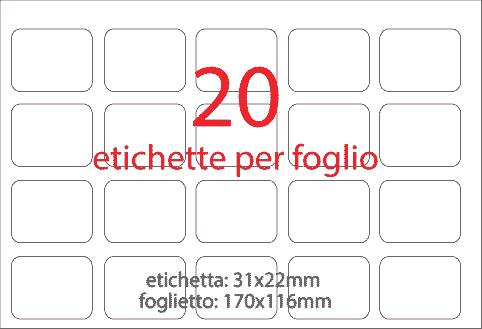 wereinaristea Etichette autoadesive Tik-Fix. a perfetto registro. mm 31x22 (22x31) GIALLO, in foglietti da mm 116x170, 20 etichette per foglio, (10 fogli).