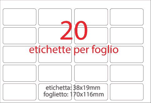 wereinaristea Etichette autoadesive Tik-Fix, a perfetto registro, mm 38x19 (19x38) BIANCO, in foglietti da mm 116x170, 20 etichette per foglio, (10 fogli).