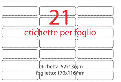 wereinaristea Etichette autoadesive Tik-Fix, a registro, mm 52x13 (13x52) BIANCO, in foglietti da mm 116x170, 21 etichette per foglio, (10 fogli).