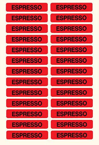 wereinaristea Etichette autoadesive Tik-Fix, a registro, mm 48x10 (10x48) ESPRESSO, scritta nera su fondo ROSSO, in foglietti da mm 116x170, 26 etichette per foglio, (4 fogli).
