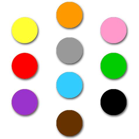 wereinaristea Etichette autoadesive rotonde, diametro mm 34 COLORI ASSORTITI, adesivo permanente, su foglietti da cm 15,2x12,5. 12 etichette per foglietto, La confezione contiene 12 etichette per ognuno dei seguenti colori: GIALLO, ROSA, ARANCIONE, ROSSO, GRIGIO, VERDE, VIOLA, AZZURRO, MARRONE, NERO.