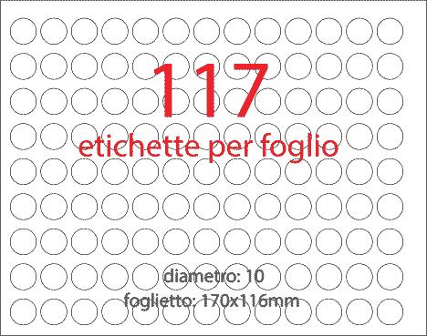 wereinaristea Etichette autoadesive Tik-Fix, a registro, diametro mm 10 GRIGIO, in foglietti da mm 116x170, 117 etichette per foglio, (10 fogli).