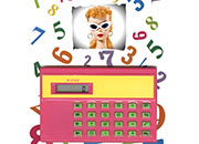 gbc La calcolatrice di BARBIE.  ROSA CICLAMINO. Calcolatrice portatile W-6100. Alimentazione a batteria, dimensioni 55x90x6mm, 4 operazioni, percentuale, radice quadrata, memorie.